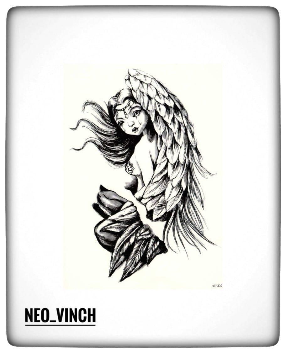 """Водостойкая временная тату- наклейка """"Плачущий ангел"""""""