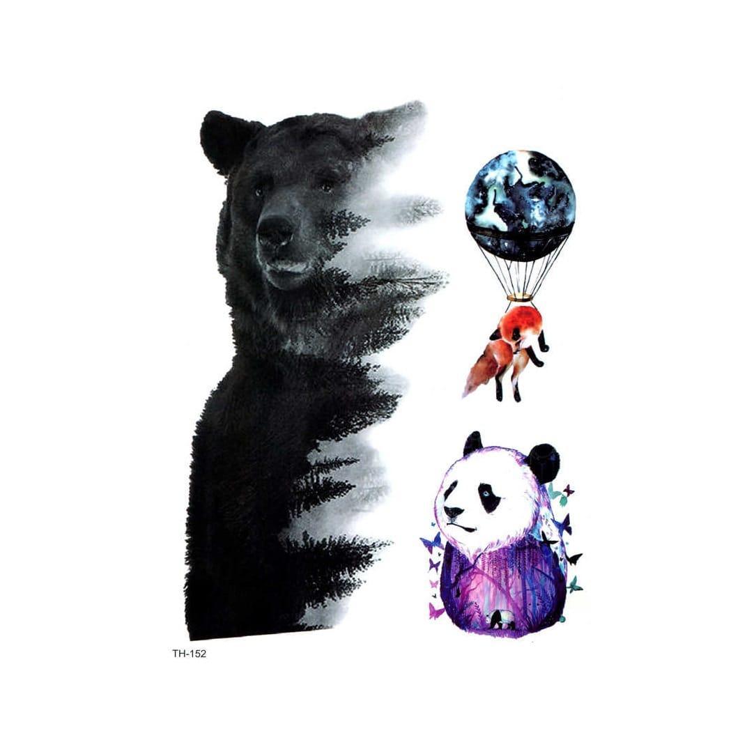 """Водостойкая временная тату- наклейка """"Медведи"""""""