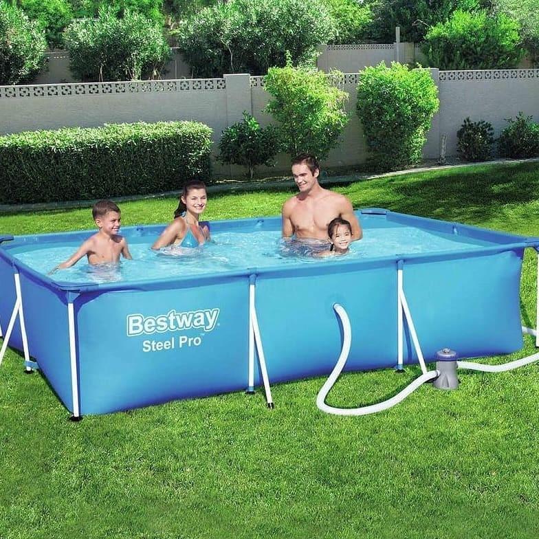 Каркасный прямоугольный бассейн Bestway 300х201х66 см + фильтр-насос 1249 л/ч (56411 Bestway).