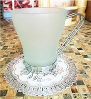Подставки под стакан ажурные серебро (12шт)