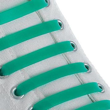Набор шнурков для обуви, 6 шт, силиконовые, плоские, 13 мм, 9 см, цвет зелёный