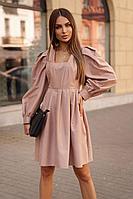 Женское осеннее бежевое нарядное платье Vesnaletto 2721 46р.