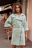 Женское осеннее хлопковое бирюзовое платье Vesnaletto 2737-1 50р.