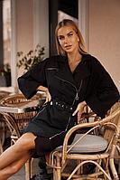 Женское осеннее хлопковое черное платье Vesnaletto 2737-2 46р.