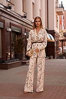Женский осенний бежевый нарядный брючный костюм Vesnaletto 2762 46р.