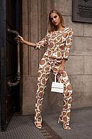 Женский осенний бежевый нарядный брючный костюм Vesnaletto 2765 44р.