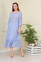 Женское летнее шифоновое голубое большого размера платье Anastasiya Mak 824 голубой 50р.
