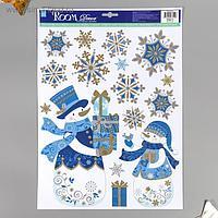 "Декоративная наклейка Room Decor ""Снеговики с подарками"" 29х41 см"