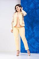 Женский осенний кружевной желтый нарядный большого размера брючный костюм Anastasia 544 желтый 52р.