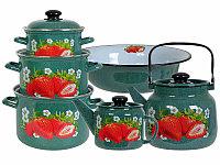 Набор посуды Лысьвенские эмали Сочная клубника Изумруд цвет 6 предметов