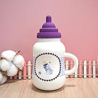 Детская бутылочка керамическая (фиолетовая)