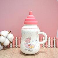 Детская бутылочка керамическая (розовая)
