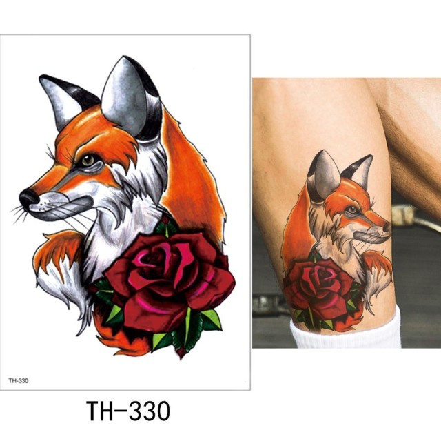 """Водостойкая временная тату-наклейка """"Лиса с розой"""""""