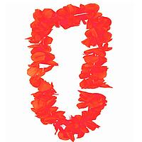 Гавайские бусы Леи из цветов красный оттенков (диаметр по окружности 44-50 см)