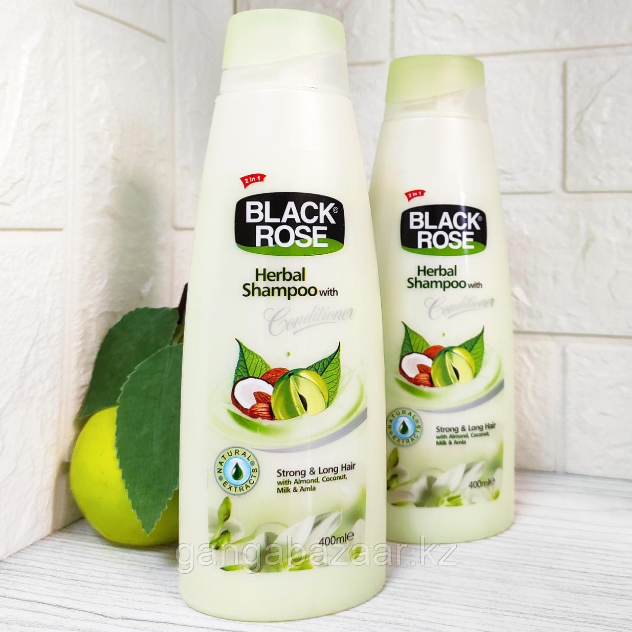 Шампунь травяной Black Rose c экстрактами миндаля, кокоса, амлы и молочными протеинами, 400 мл