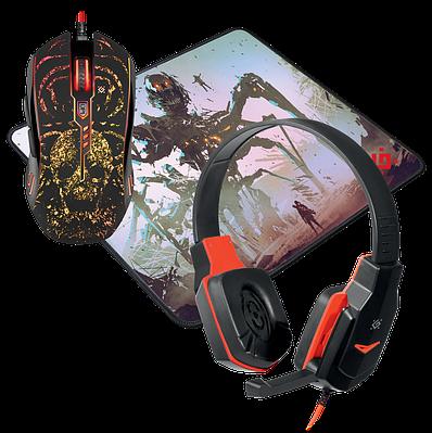 Гарнитура+мышь+коврик, USB, Defender Nemesida MHP-128, 52128, красный-черный