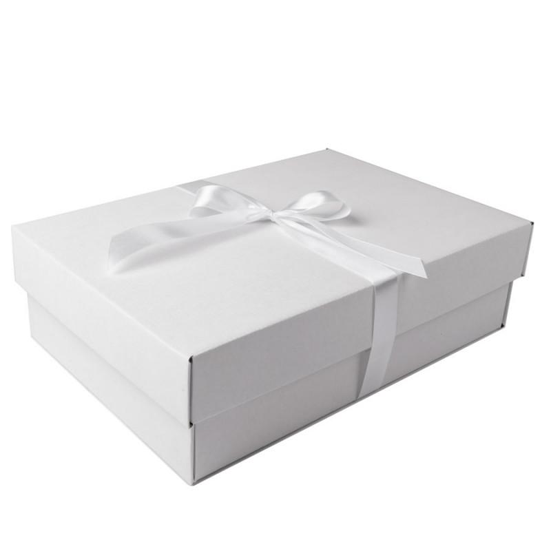 Коробка подарочная с лентой белой атласной, белый/бурый, Коричневый, -, 21009 13 - фото 4