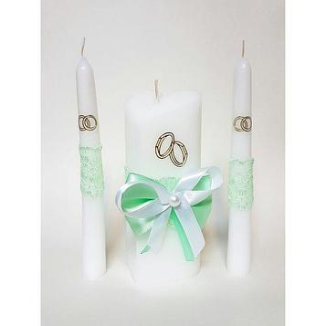 """Набор свечей """"Кружевной"""", цвет мяты : Домашний очаг 15см, Родительские свечи 17.5см"""