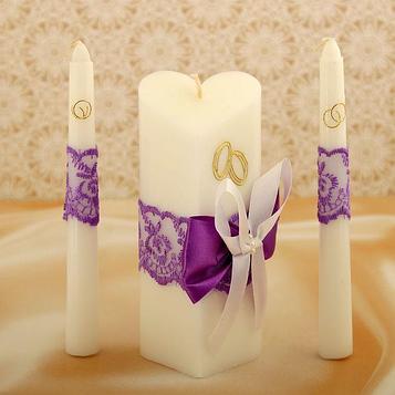 """Набор свечей """"Кружевной"""", фиолетовый : Домашний очаг 15см, Родительские свечи 17.5см"""