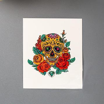 """Татуировка на тело """"Череп с розами и рубинами"""" МИКС"""