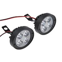 Фара cветодиодная для мототехники, 4 LED, IP67, 10 Вт, направленный свет, набор 2 шт