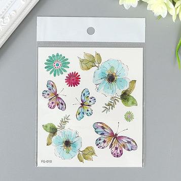 """Татуировка на тело цветная с блёстками """"Бабочки и цветы"""" 12х10,5 см"""