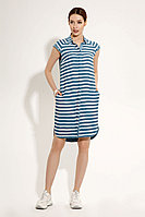 Женское летнее из вискозы голубое платье Панда 481580 бело-голубой 42р.