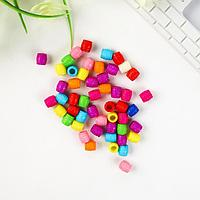 """Бусины для творчества пластик """"Ребристые"""" цветные набор 80 шт 1х1 см"""