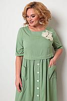 Женское летнее из вискозы зеленое большого размера платье Michel chic 2062 оливка 56р.