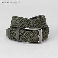 Ремень мужской, резинка плетёнка, пряжка металл, цвет зелёный