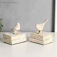 """Держатели для книг """"Белые птицы на книгах"""" набор 2 шт 15,5х12,5х10 см"""