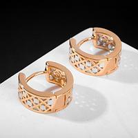 """Серьги-кольца """"Одиссея"""" ажур, цвет розовое золото, d=1,5 см"""