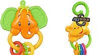 Набор погремушек прорезывателей для детей Обезьяна и Слоник 9709 2 шт