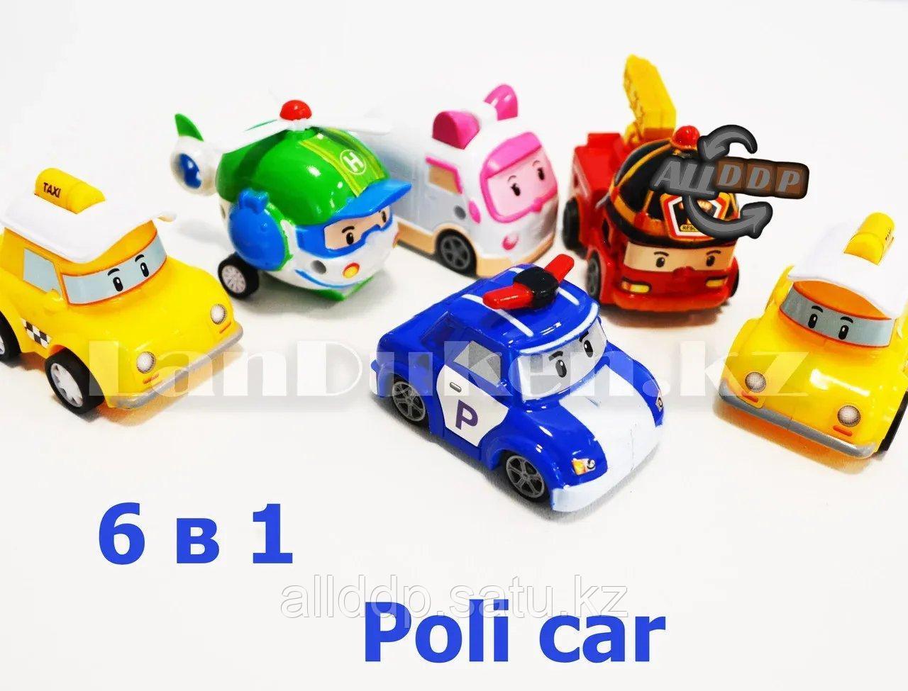 Игровой набор машинок Робокар Поли (6 машинок: 2 такси, 1 полицейский, 1 вертолет, 1 скорая и 1 пожарная) P4