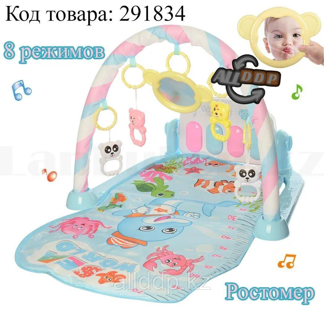 Развивающий коврик для малышей с ростомером музыкальной игрушкой подставкой