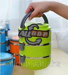 Ланч бокс для еды контейнер пищевой 3 секции (Three layers) 2,1 л зеленый
