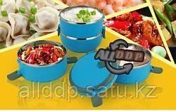 Ланч бокс для еды контейнер пищевой 4 секции (Four layers) 2,8 л голубой