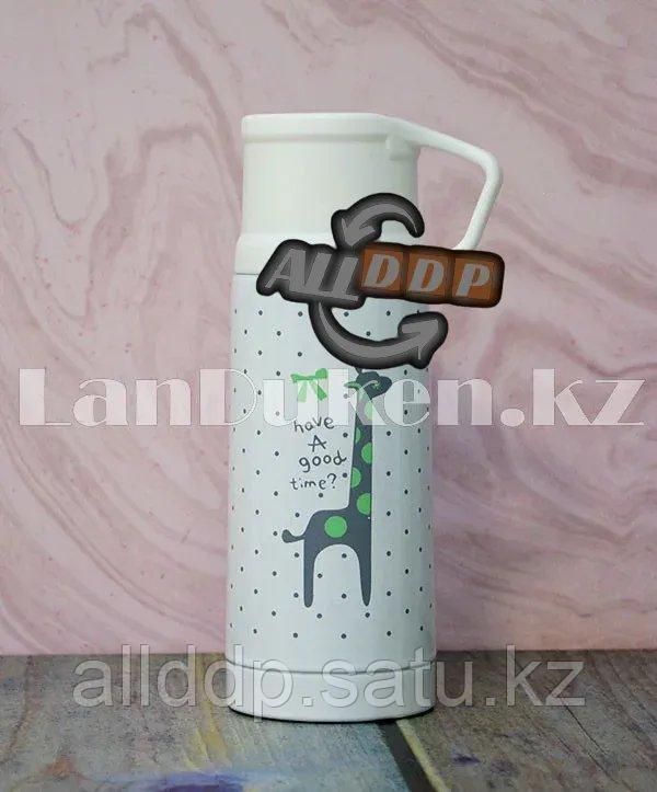 Термос вакуумный 350 мл. с надписью Have a good time? с принтом Жираф зеленый на белом фоне