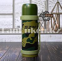 Термос вакуумный Travel Pot 1.2 л металлический камуфляжный с ручкой HOO2