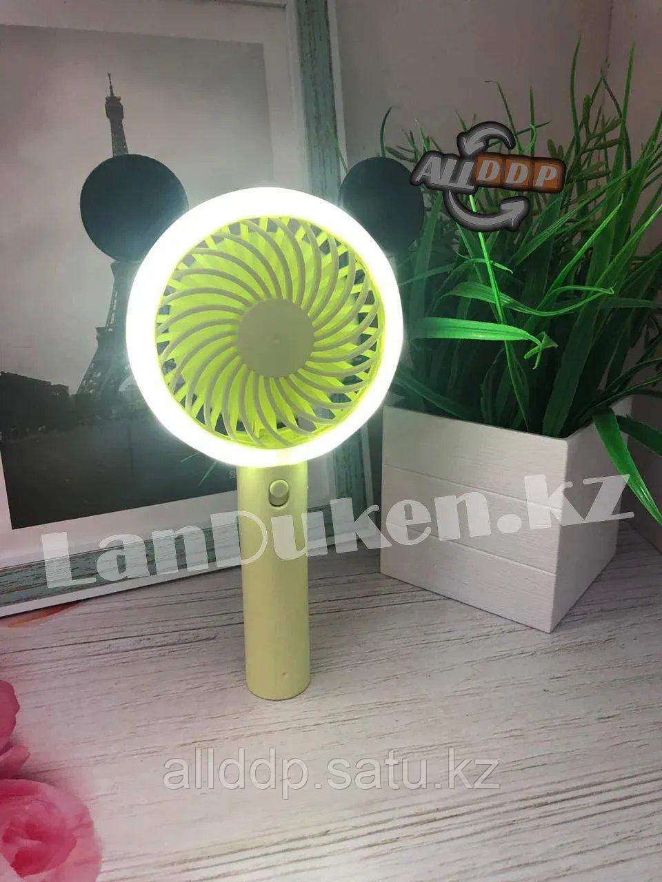 Ручной вентилятор аккумуляторный с подсветкой, зеленый