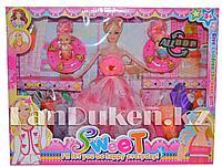 """Игровой набор для девочек. """"Кукла с комплектом одежды и двумя мини малышками"""" (Высота 28 см) Бело-Розовый"""