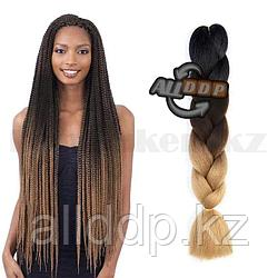 Канекалон двухцветные накладные волосы 60 см чёрно-коричневые В30