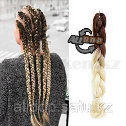 Канекалон двухцветные накладные волосы 60 см коричнево-блондинистый В39