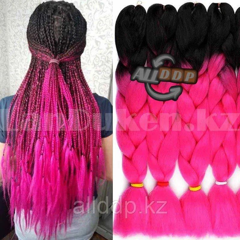 Канекалон двухцветные накладные волосы 60 см Черно-малиновый B4