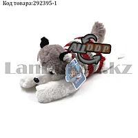 Мягкая игрушка собака Хаски маленькая в свитере 35см серая