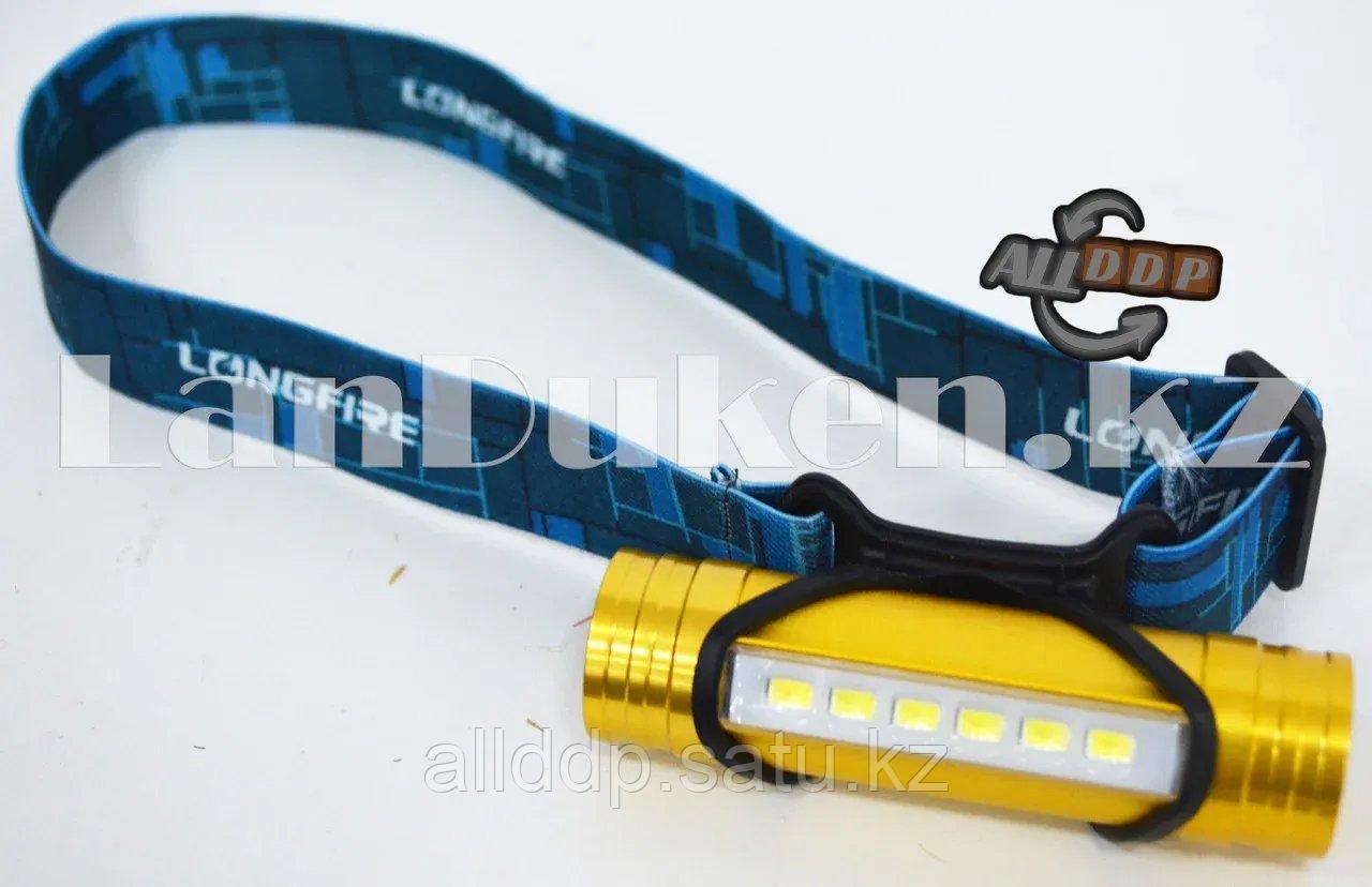 Светодиодный налобный USB фонарь Power Bank 6LED 3 режима