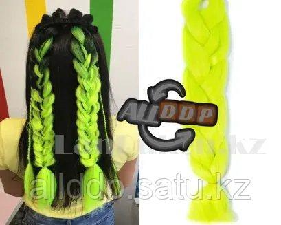 Канекалон накладные волосы одноцветные 60 см Неоново салатовый А22