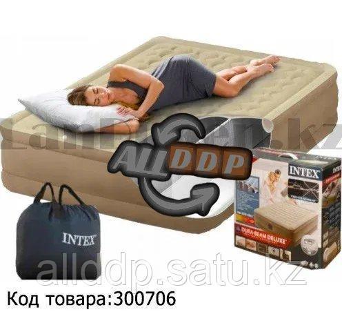 Надувной матрас двуспальный со встроенным электронасосом и сумка Intex Deluxe 64428 (152х203х46 см)
