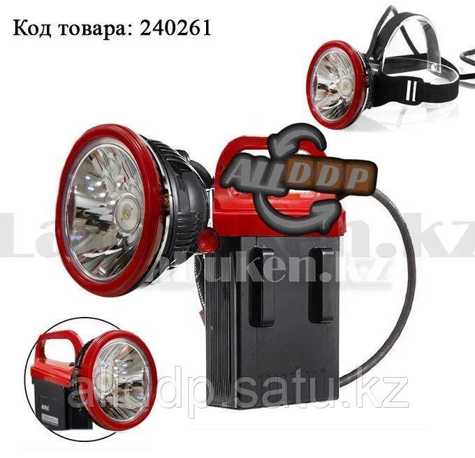 Светодиодный налобный и ручной фонарь шахтерский с большим аккумулятором KM-206 2 в 1