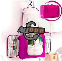 Органайзер для хранения косметики и аксессуаров складной подвесной Wosh bag розовый